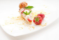 Classical Dessert with Strawberry and Mint Stock Images