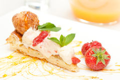 Classical Dessert with Strawberry and Mint Stock Photo