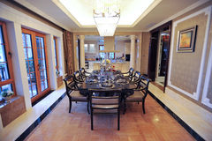 Classical dining room in a mansion stock photo