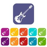 Classical electric guitar icons set flat Royalty Free Stock Photo