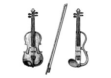 Classical and electric violins. Bowed string instruments. Vector hand drawn illustration of violin and fiddle-bow Royalty Free Stock Image