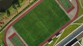 Classical empty old stadium from birds eye view. Aerial footage. 4k.  stock video footage