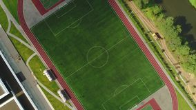 Classical empty old stadium from birds eye view. Aerial footage. 4k.  stock video