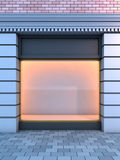 Classical empty storefront . 3D illustration of a classical empty storefront with the evening lighting Stock Image