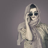 Classical female in vintage fashion accessories Stock Photos