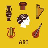 Classical flat art and musical instruments icons Royalty Free Stock Photos