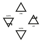 Classical Four Elements Symbols Of Medieval Alchemy. Triangles representing fire, earth, water and air. Illustration on white background Stock Photo