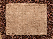 Classical frame on coffee beans. With space for your text Royalty Free Stock Images
