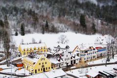 Classical Germany Village near Hohenschwangau Castle. Landscape with tilt-shift effect Stock Photography