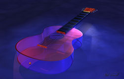 Classical Glass Guitar. A Classical guitar made out of glass Stock Photography