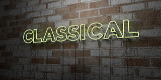 CLASSICAL - Glowing Neon Sign on stonework wall - 3D rendered royalty free stock illustration Royalty Free Stock Image