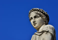 Classical goddess statue. Ancient Roman or Greek goddess marble statue with copy space Royalty Free Stock Photo