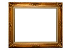 Classical gold frame isolated with clipping path. Classical gold frame with mounting screws, isolated with clipping path Royalty Free Stock Photo