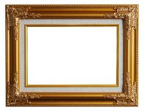 Classical gold frame w/ clipping path. Classical gold frame isolated with clipping path Stock Images