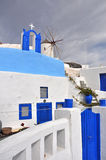 Classical greek architecture, blue and white - santorini Royalty Free Stock Photo