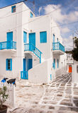 Classical Greek architecture of the streets - stairs, balconies, Royalty Free Stock Image