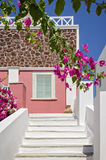 Classical Greek architecture of the streets with white stairs, Santorini Island. In Greece Royalty Free Stock Photography
