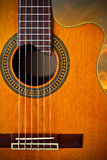 Classical guitar. A close up shot of a cut away classical guitar Stock Images