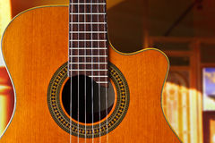 Classical Guitar. A classical guitar shot in an evening with an interior background Royalty Free Stock Photography