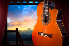 Classical Guitar. A cutaway classical guitar shot in an opened room Royalty Free Stock Photography