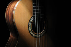 Classical Guitar. Isolated on black background Royalty Free Stock Images