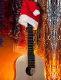 Classical guitar in the background of a Christmas background Royalty Free Stock Image