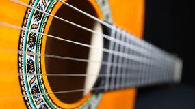 Classical guitar close-up on side