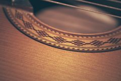Classical guitar closeup. Photo background Royalty Free Stock Images