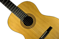 Classical Guitar. Fragment of classical Spanish guitar on isolated background Royalty Free Stock Photo