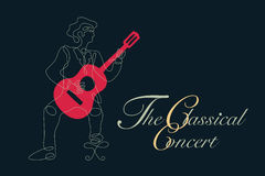 Classical guitar graphic with simple drawing line in shape of guitarist. Stock Photography