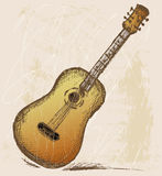 Classical guitar. Grunge style. Vector royalty free illustration