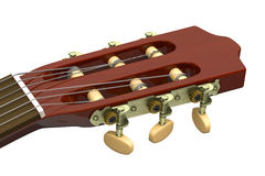 Classical Guitar Headstock Closeup. On White Background Stock Photo
