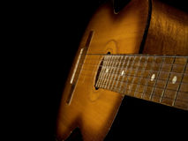 Classical Guitar Isolated On Black Stock Photos