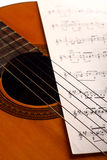Classical guitar and notes Royalty Free Stock Images