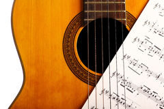 Classical guitar and notes Royalty Free Stock Photo