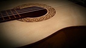 Classical Guitar. Old classical guitar. Melancholy guitar music. Spanish sound. Relaxation time. String instruments. Spruce and cedar top guitar Royalty Free Stock Images