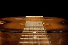 Classical Guitar On Black Royalty Free Stock Photo