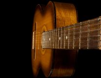 Classical Guitar On Black Stock Images