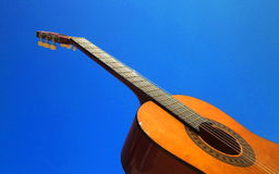Classical guitar. Photography of a classical guitar and blue sky Stock Images