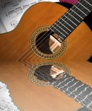 Classical guitar reflected. Classical guitar and sheet music reflected in water Stock Images