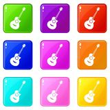 Classical guitar set 9. Classical guitar icons of 9 color set isolated vector illustration royalty free illustration