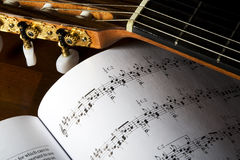 Classical guitar tuners. Closeup image of gold plated classical guitar tuners Royalty Free Stock Image