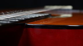 Classical guitar view of body with strong depth of field