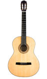 Classical guitar with yellow deck on white Royalty Free Stock Image