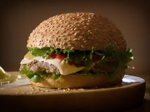 Classical hamburger on a wooden plate. Tasty classical hamburger on a wooden plate Stock Images