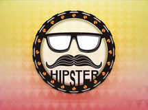 Classical hipster badge on triangle autumn colored background Royalty Free Stock Image