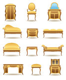 Classical home furniture icons set Stock Images