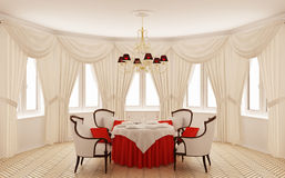 Classical interior of a dining room. (3d rendering Royalty Free Stock Photo