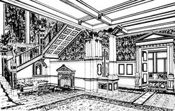 Classical interior in palace, hand drawn Stock Images
