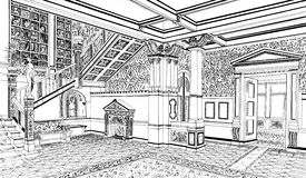 Classical interior in palace, hand drawn Stock Photo